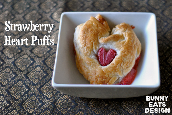 Strawberry heart puffs