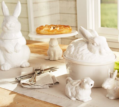 Pottery Barn: Bunny cookie jar, bunny cake stand and bunny lidded bowl