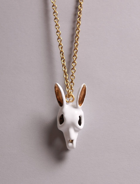 Ghostly rabbit skull pendant