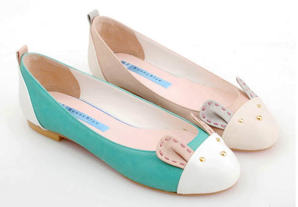 le-bunny-bleu-bunny-motive-flat-shoes