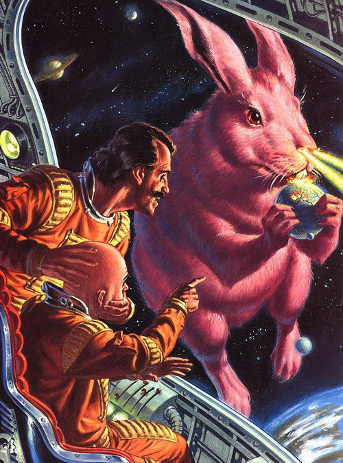 Pink Rabbit Eats Planets (artist unknown)