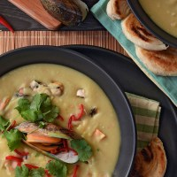 Thai coconut mussel and kumara chowder