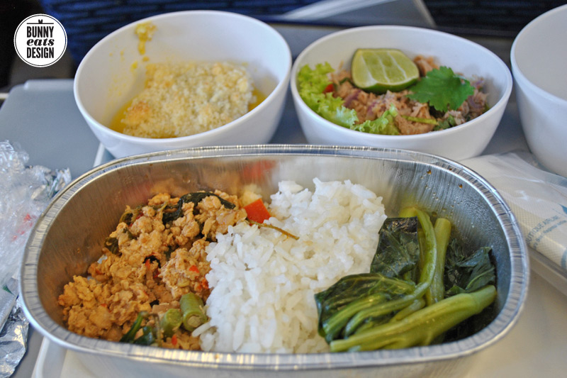 Airplane meal: chicken laab with rice and veges. Flying into Chiang Mai, Thailand.